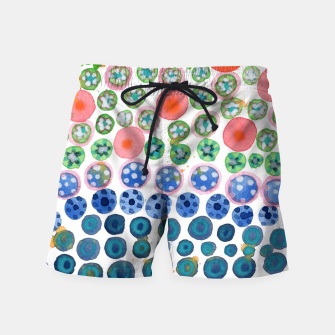 Thumbnail image of Playful Green Stars and Colorful Circles Pattern  Swim Shorts, Live Heroes