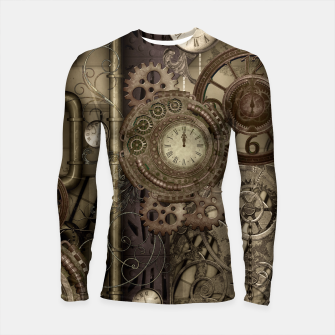 Thumbnail image of Steampunk, wonderful noble steampunk design with clocks and gears Longsleeve Rashguard , Live Heroes