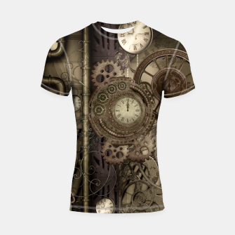 Thumbnail image of Steampunk, wonderful noble steampunk design with clocks and gears Shortsleeve Rashguard, Live Heroes