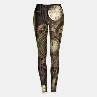 Thumbnail image of Steampunk, wonderful noble steampunk design with clocks and gears Leggings, Live Heroes