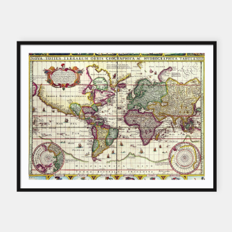 Thumbnail image of Vintage 1652 World Map by Claes Janszoon Visscher Framed poster, Live Heroes