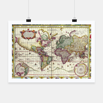 Thumbnail image of Vintage 1652 World Map by Claes Janszoon Visscher Poster, Live Heroes