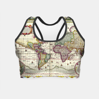 Thumbnail image of Vintage 1652 World Map by Claes Janszoon Visscher Crop Top, Live Heroes