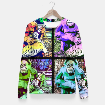 Thumbnail image of Be Kind Orangutan & tiger popart Fitted Waist Sweater, Live Heroes