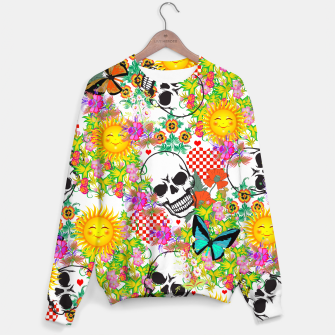 Thumbnail image of Abstract Skulls, Sun and Flowers Sweater, Live Heroes