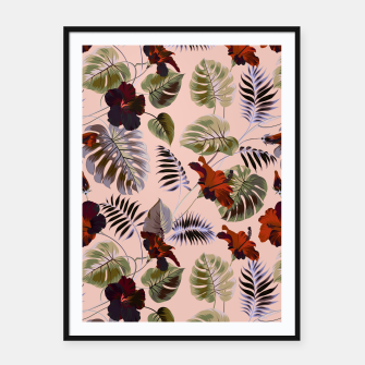 Thumbnail image of Tropical botanical pattern pink Cartel con marco, Live Heroes
