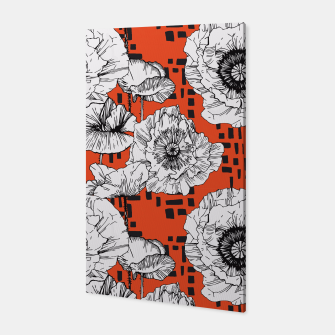 Miniatur White poppy flowers among geometric Canvas, Live Heroes
