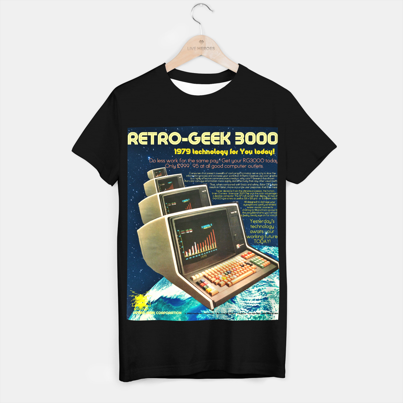 Image of Retro Geek 3000 T-shirt regular - Live Heroes