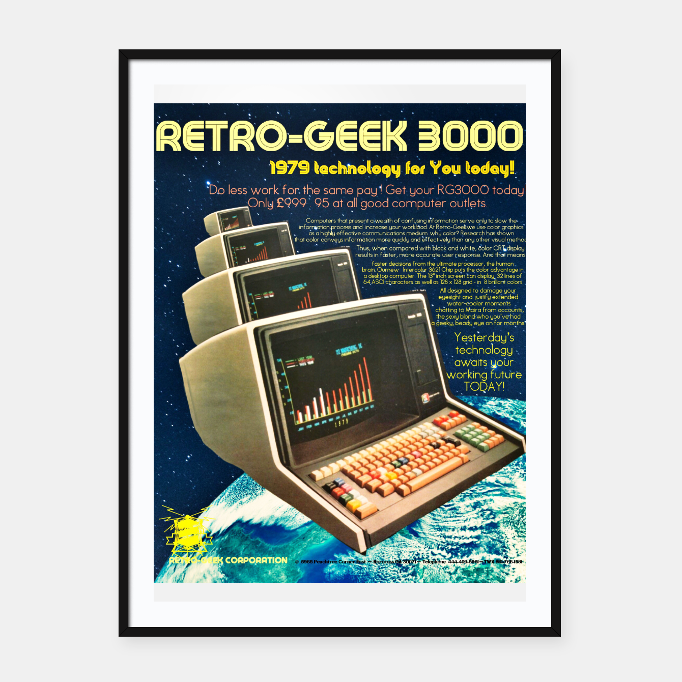 Image of Retro Geek 3000 Framed poster - Live Heroes