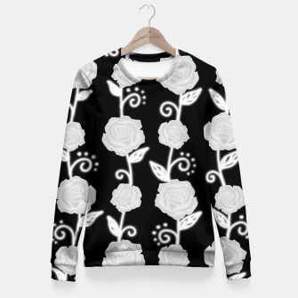 Thumbnail image of Black and white roses Fitted Waist Sweater, Live Heroes