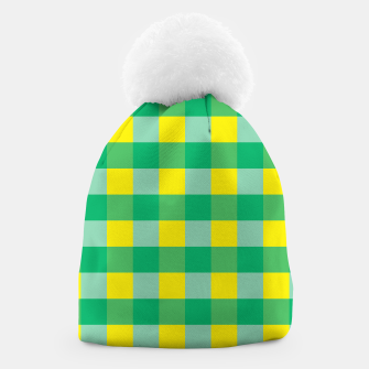 Imagen en miniatura de Green,Yellow & Blue Checked Pattern Beanie, Live Heroes