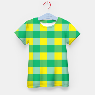 Imagen en miniatura de Green,Yellow & Blue Checked Pattern Kid's T-shirt, Live Heroes