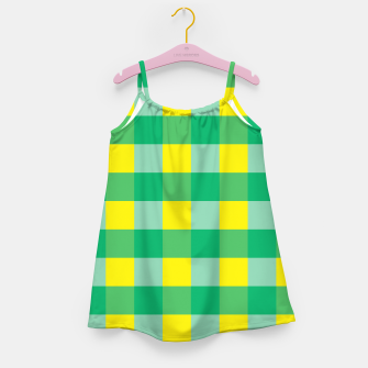 Imagen en miniatura de Green,Yellow & Blue Checked Pattern Girl's Dress, Live Heroes