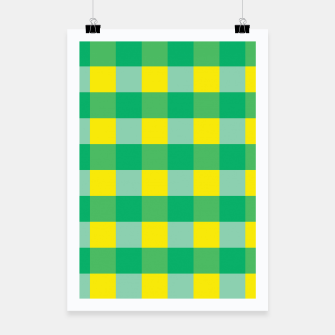 Imagen en miniatura de Green,Yellow & Blue Checked Pattern Poster, Live Heroes