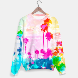 palm tree wth colorful painting abstract background in pink blue green red yellow Sweater miniature