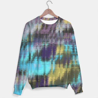 psychedelic geometric abstract pattern in blue yellow purple Sweater Bild der Miniatur