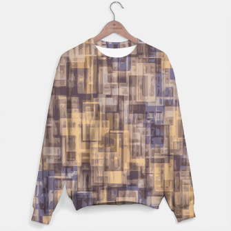 psychedelic geometric square pattern abstract in brown and blue Sweater obraz miniatury