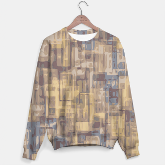 psychedelic geometric square pattern abstract in brown yellow and blue Sweater obraz miniatury
