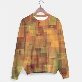 vintage psychedelic geometric square pattern abstract in brown and green Sweater obraz miniatury