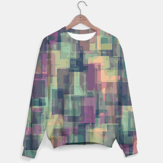 psychedelic geometric square pattern abstract in pink and green Sweater obraz miniatury