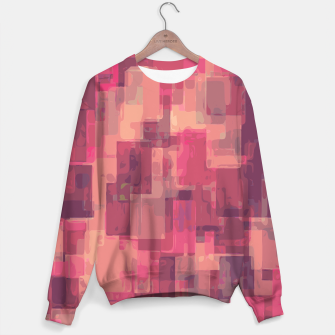 psychedelic geometric square pattern abstract in pink and purple Sweater obraz miniatury