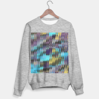 psychedelic geometric abstract pattern in blue yellow purple Sweater regular Bild der Miniatur