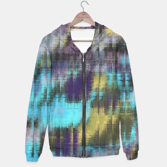 psychedelic geometric abstract pattern in blue yellow purple Hoodie Bild der Miniatur
