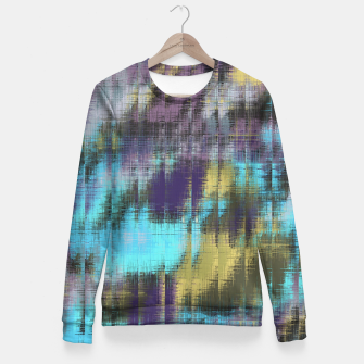 psychedelic geometric abstract pattern in blue yellow purple Fitted Waist Sweater Bild der Miniatur