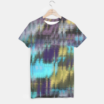 psychedelic geometric abstract pattern in blue yellow purple T-shirt Bild der Miniatur
