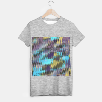 psychedelic geometric abstract pattern in blue yellow purple T-shirt regular Bild der Miniatur