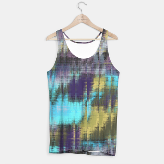 psychedelic geometric abstract pattern in blue yellow purple Tank Top Bild der Miniatur