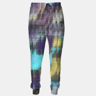 psychedelic geometric abstract pattern in blue yellow purple Sweatpants Bild der Miniatur
