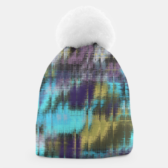 psychedelic geometric abstract pattern in blue yellow purple Beanie Bild der Miniatur