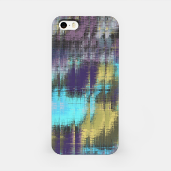 psychedelic geometric abstract pattern in blue yellow purple iPhone Case Bild der Miniatur