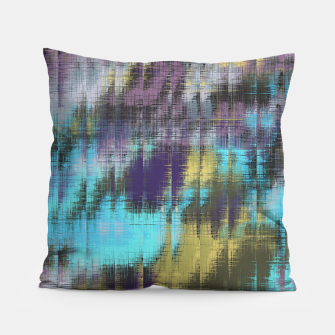 psychedelic geometric abstract pattern in blue yellow purple Pillow Bild der Miniatur
