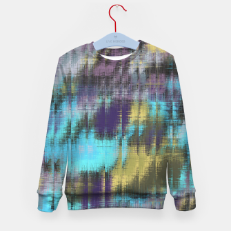psychedelic geometric abstract pattern in blue yellow purple Kid's Sweater Bild der Miniatur