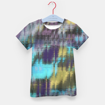 psychedelic geometric abstract pattern in blue yellow purple Kid's T-shirt Bild der Miniatur