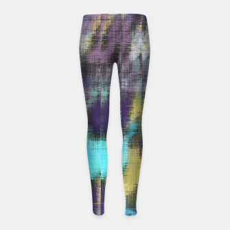 psychedelic geometric abstract pattern in blue yellow purple Girl's Leggings Bild der Miniatur