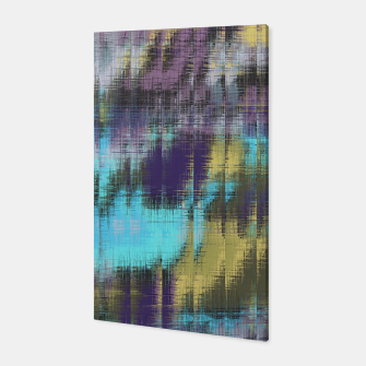 psychedelic geometric abstract pattern in blue yellow purple Canvas Bild der Miniatur