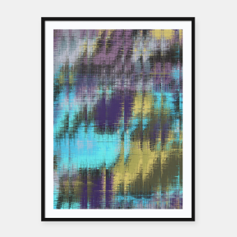 psychedelic geometric abstract pattern in blue yellow purple Framed poster Bild der Miniatur
