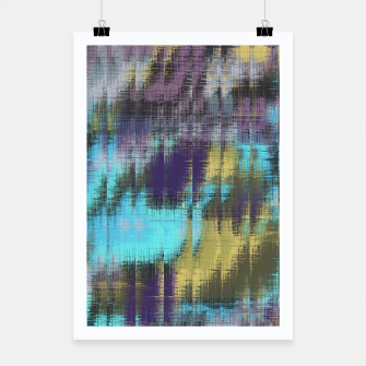 psychedelic geometric abstract pattern in blue yellow purple Poster Bild der Miniatur