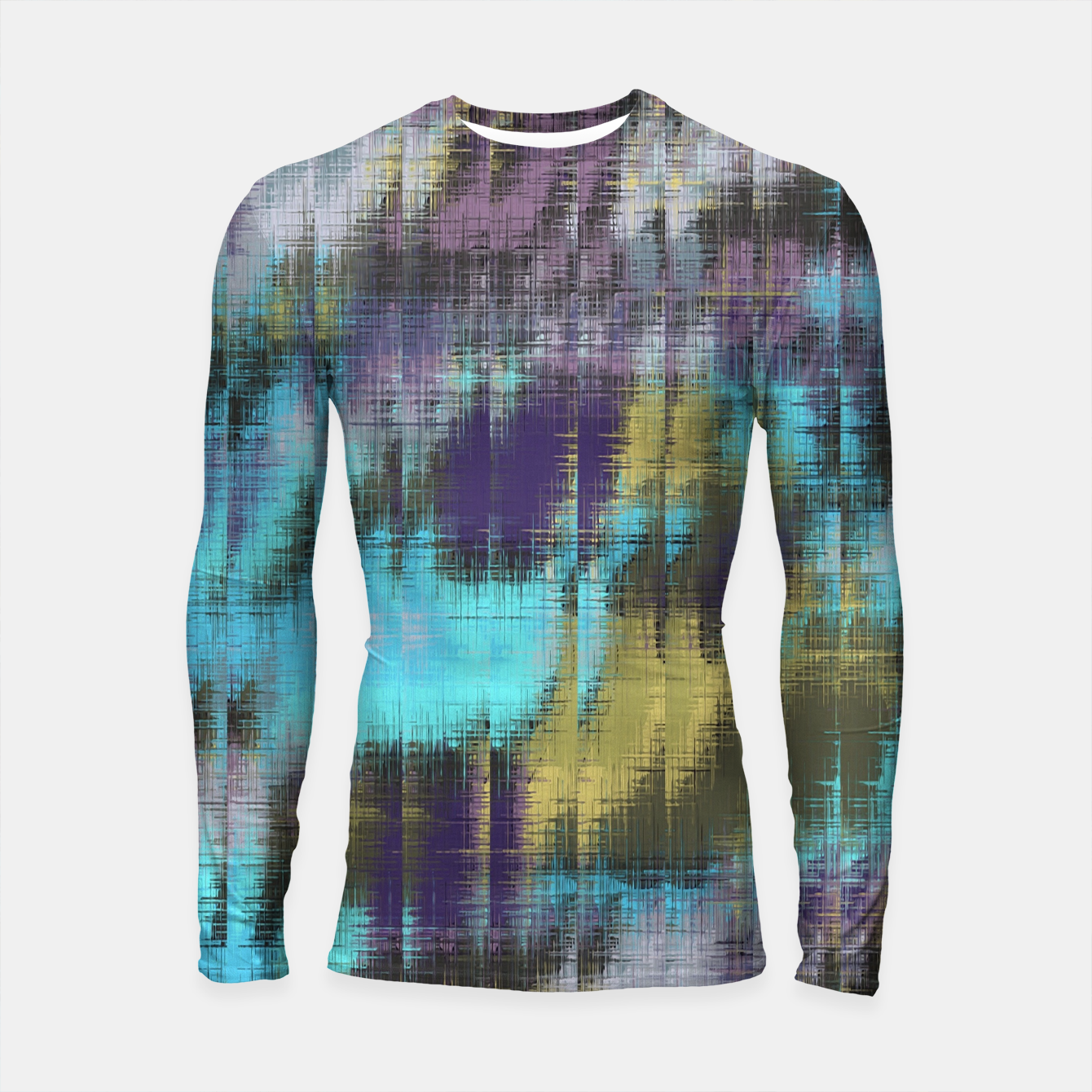 Foto psychedelic geometric abstract pattern in blue yellow purple Longsleeve Rashguard  - Live Heroes
