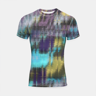 psychedelic geometric abstract pattern in blue yellow purple Shortsleeve Rashguard Bild der Miniatur