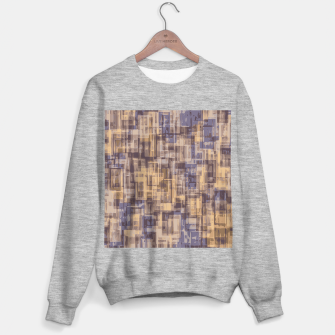 psychedelic geometric square pattern abstract in brown and blue Sweater regular obraz miniatury