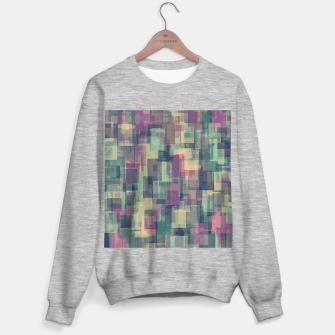 psychedelic geometric square pattern abstract in pink and green Sweater regular obraz miniatury