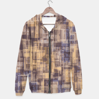 psychedelic geometric square pattern abstract in brown and blue Hoodie obraz miniatury