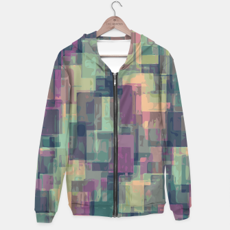 psychedelic geometric square pattern abstract in pink and green Hoodie obraz miniatury