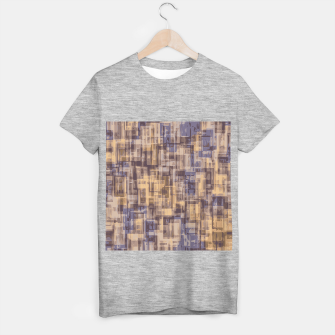 psychedelic geometric square pattern abstract in brown and blue T-shirt regular obraz miniatury