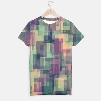 psychedelic geometric square pattern abstract in pink and green T-shirt obraz miniatury