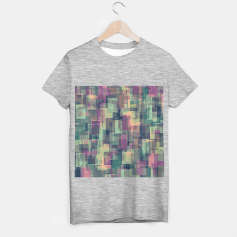 psychedelic geometric square pattern abstract in pink and green T-shirt regular obraz miniatury